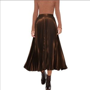 A.L.C gold pleated skirt